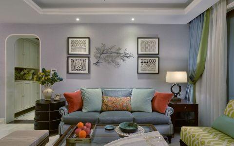 客厅白色照片墙田园风格装修图片