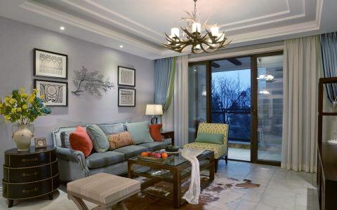 客厅白色背景墙田园风格装饰图片