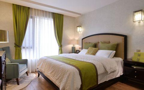 卧室白色窗帘田园风格装潢图片