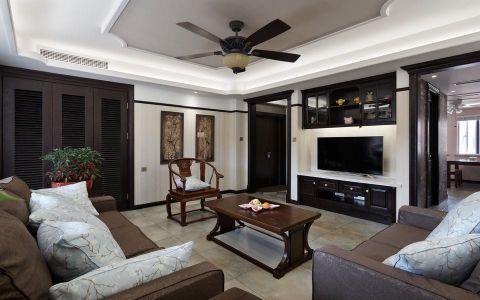 客厅黑色背景墙混搭风格装潢设计图片