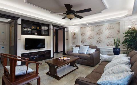 客厅黑色背景墙混搭风格效果图