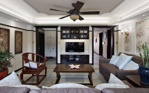 客厅黑色吊顶混搭风格装修效果图