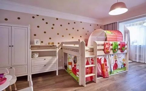 儿童房背景墙北欧风格装潢效果图
