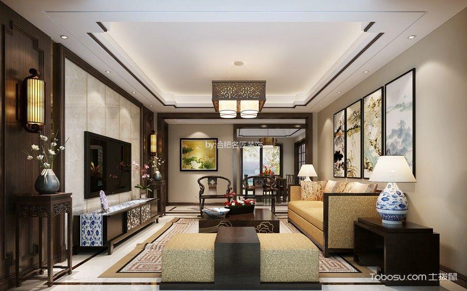 星光国际广场135平方新中式风格三室两厅装修效果图