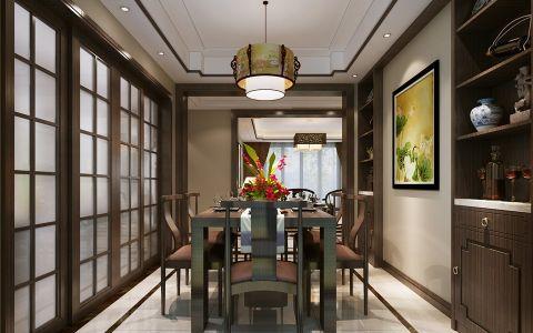 餐厅推拉门新中式风格装潢效果图