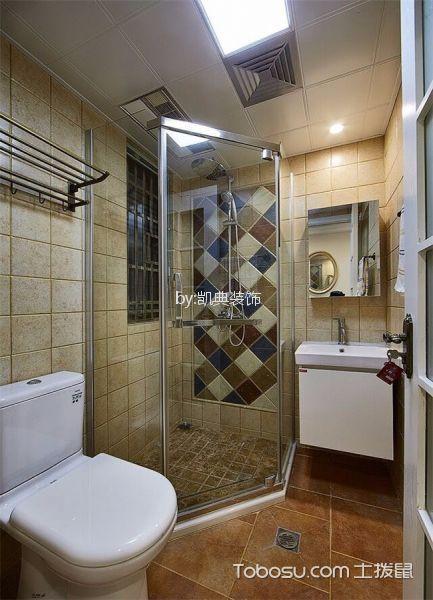 卫生间 背景墙_桃源人家96平米美式风格2室装修效果图
