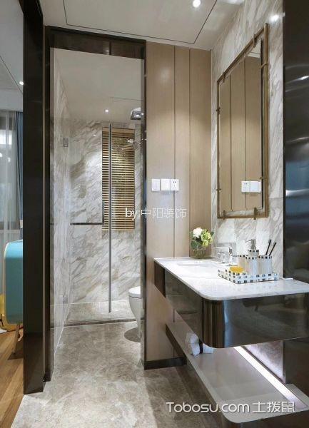 卫生间 地砖_现代简约风格100平米三室两厅新房装修效果图