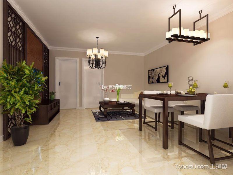 90平新中式风格二居室装修效果图