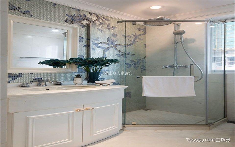 卫生间白色隔断法式风格装潢设计图片