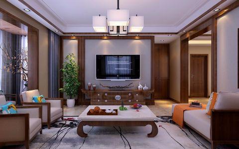 晋阳峰璟现代中式风格三居室装修效果图