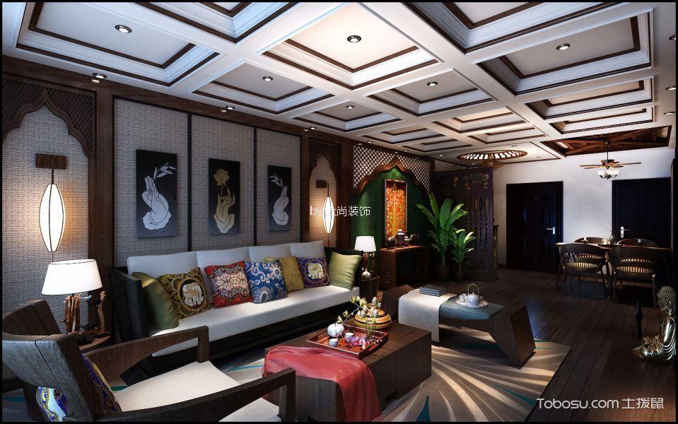 学府花园90㎡东南亚风格两室一厅装修效果图
