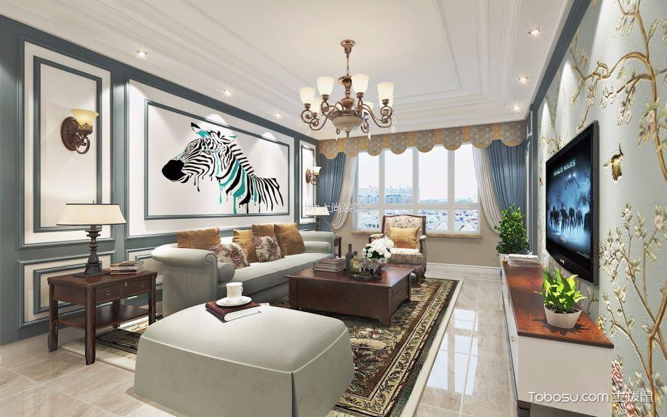 东方瑞景90㎡现代美式风格三室一厅效果图