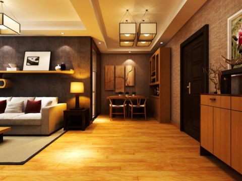 客厅背景墙新中式风格装潢设计图片