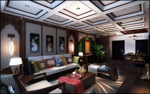 学府花园90平米东南亚风格两室一厅装修效果图