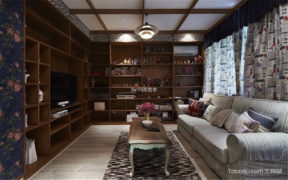 中航翡翠城80平美式风格二居室装修效果图
