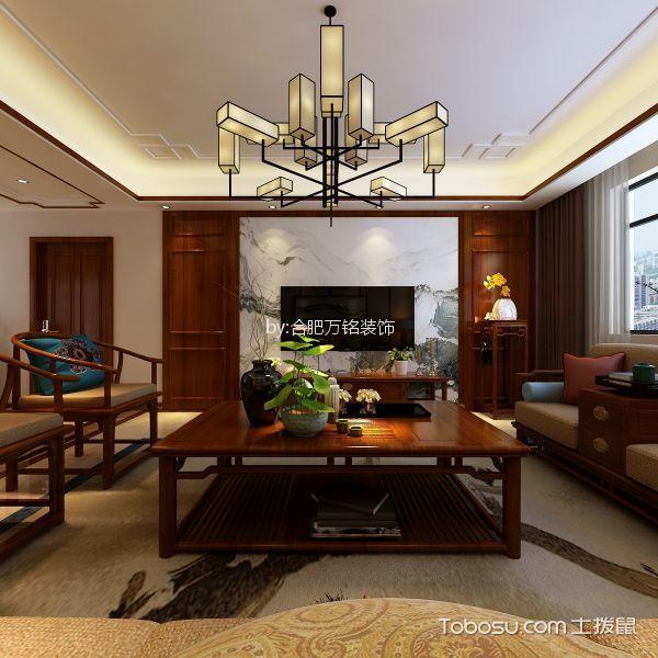 新中式风格147平米三室两厅新房装修效果图