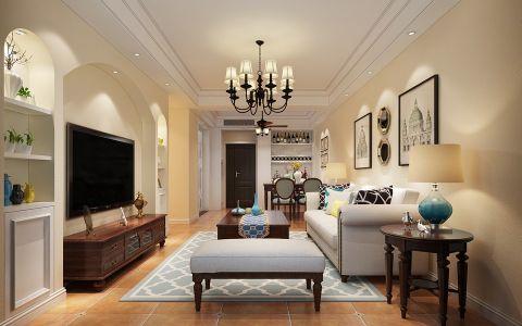 禹州中央广场90平方小三房简约美式风格设计案例