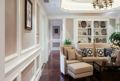 客厅博古架北欧风格装饰效果图