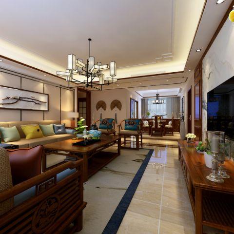 客厅茶几新中式风格装潢设计图片