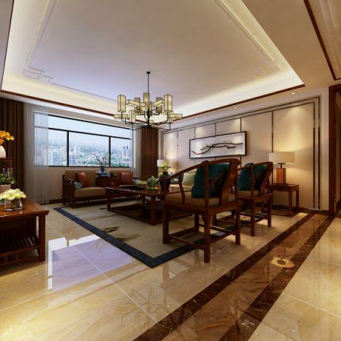 客厅地砖新中式风格装修效果图