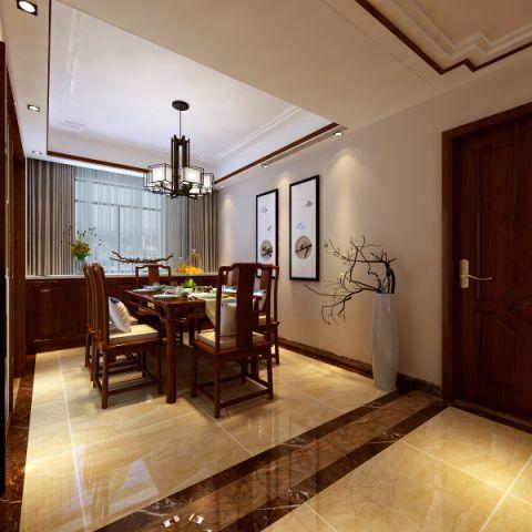 餐厅窗帘新中式风格装潢效果图