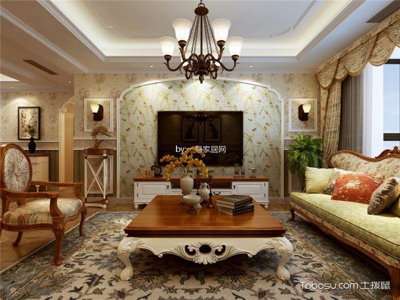绿都紫荆华庭127平三居室美式田园装修效果图