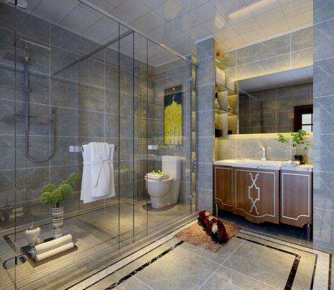 卫生间隔断中式风格装潢设计图片