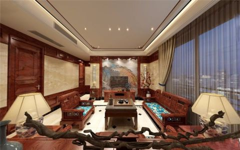 星海湾中式风格四居室装修效果图