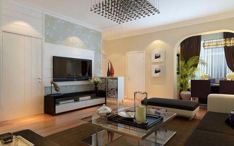 金色港湾91平简约风格二居室装修效果图