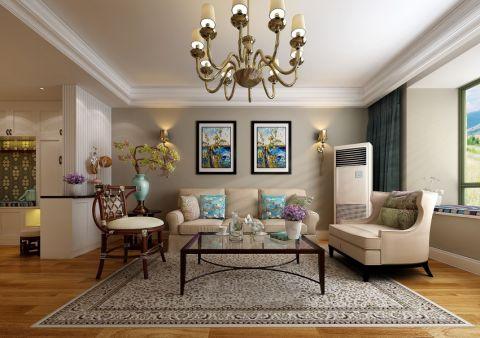 客厅照片墙简欧风格装潢效果图