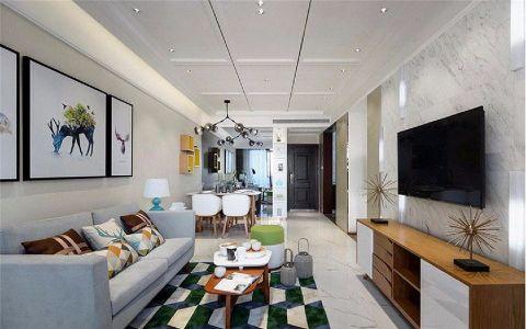 鼎元公馆89平现代简约风格三居室装修效果图