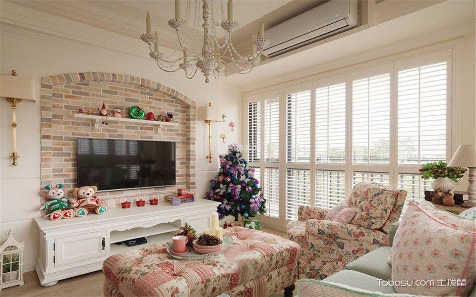 金域中央街区90平米田园风格二居室装修效果图