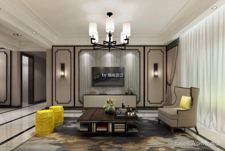 西溪诚园小区150平新中式风格三居室装修效果图