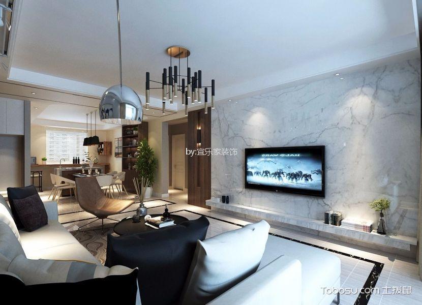 现代简约风格145平米三室两厅新房装修效果图