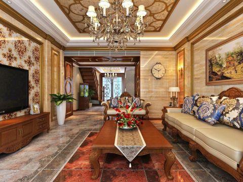泰安国山墅320平联排别墅美式风格装修效果图