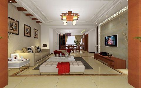 仪征奥龙湾109平米中式风格三居室装修效果图