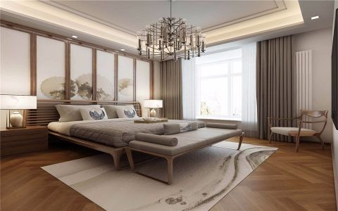 卧室照片墙新中式风格装潢效果图