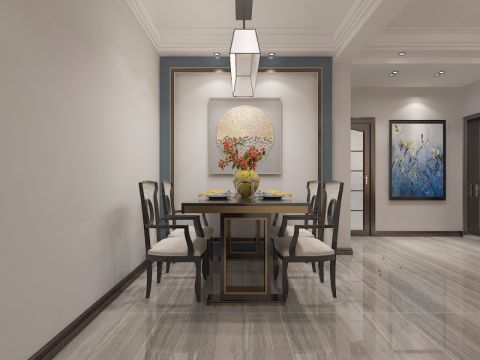 餐厅地砖新中式风格装饰图片