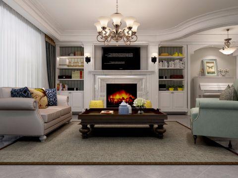客厅茶几美式风格效果图