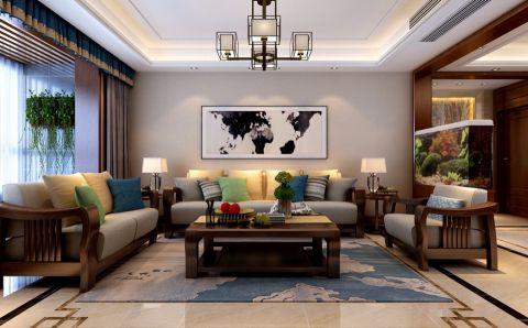 华都公园里150新中式风格三居室装修效果图