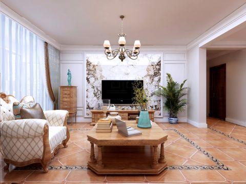 客厅背景墙美式风格装修效果图