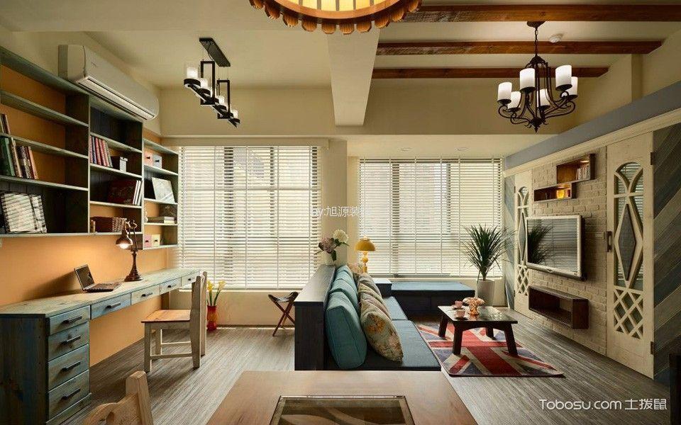 美式风格89平米两室两厅新房装修效果图
