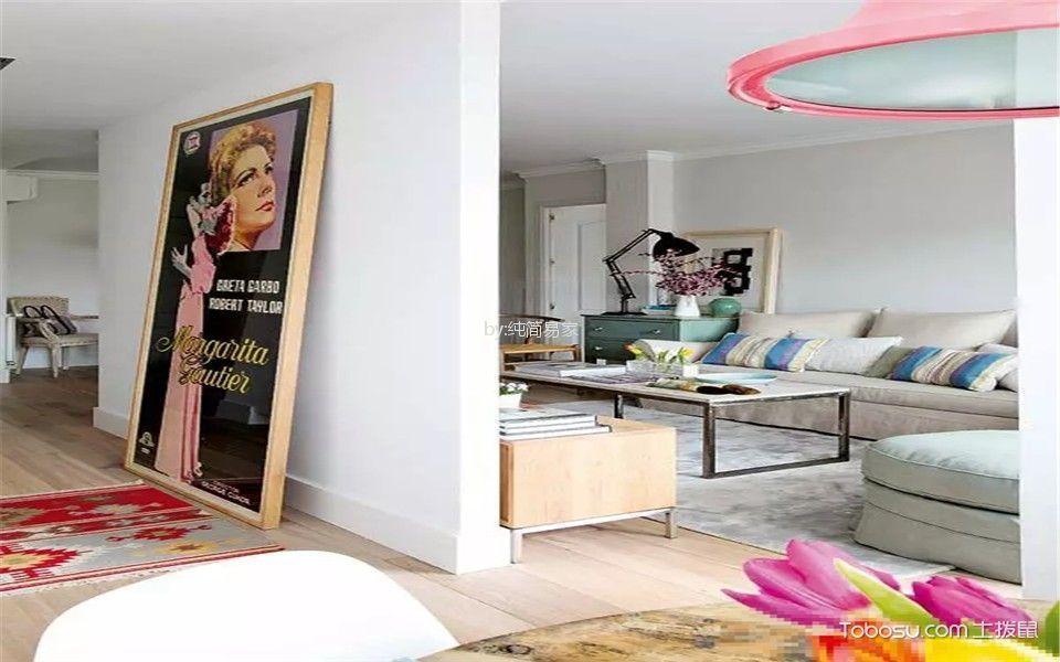 客厅白色细节混搭风格装潢图片