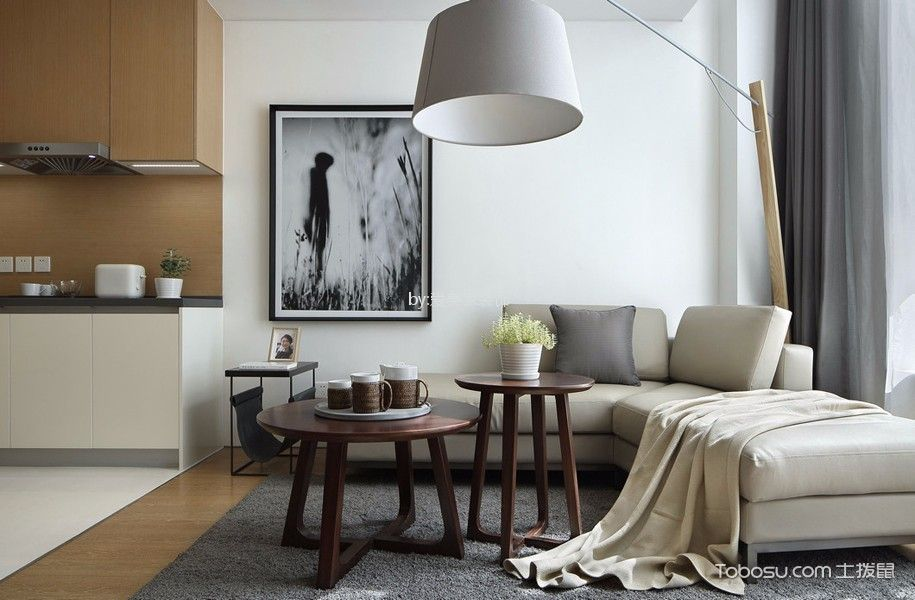 山湖湾80㎡现代风格2居室装修效果图