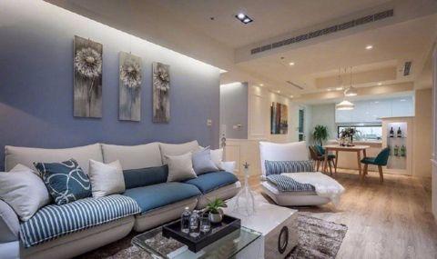 中央学府套内102平米蓝白简约三居室风格装修效果图