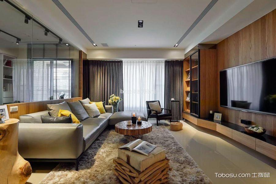金色海塘简约风格三居室装修效果图