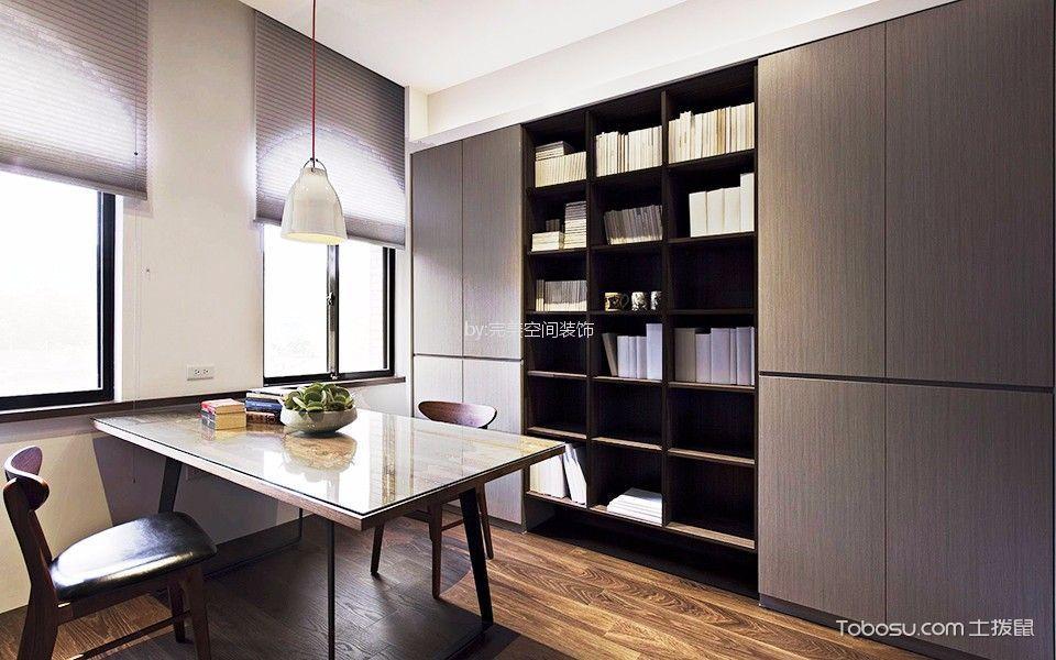 书房咖啡色窗帘现代风格装潢效果图