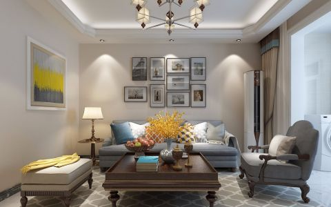 客厅照片墙现代简约风格装潢效果图