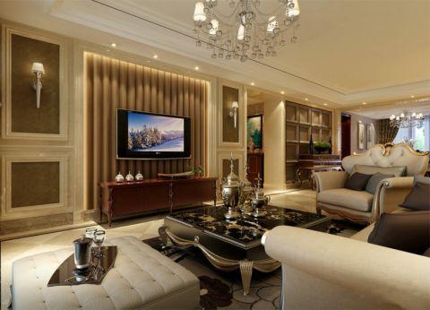 金隅丽港城128平米三居室欧美风格装修效果图