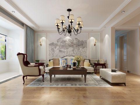 秀水名邸133平美式风格三居室装修效果图